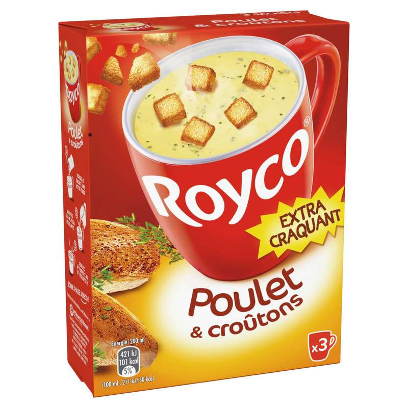 Soupe déshydratée poulet croûtons, Royco (60 cl)