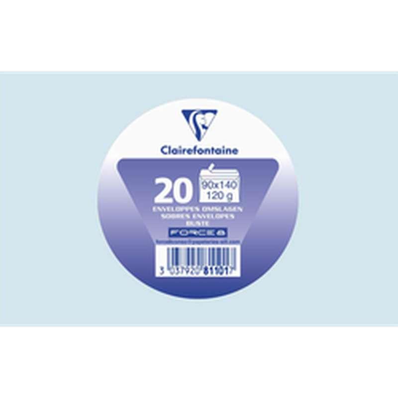 Enveloppes auto adhésives 90 x 140 mm bleu ciel, Clairefontaine (x 20)