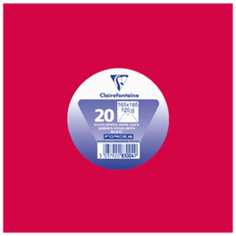 Enveloppes carrées 165 x 165 mm rouge groseille, Clairefontaine (x 20)