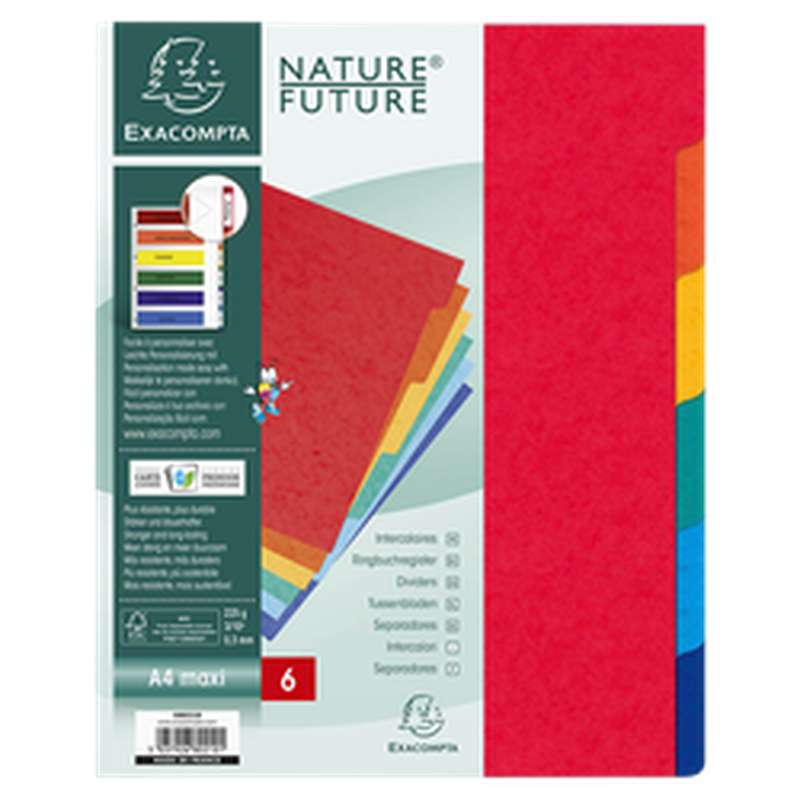 Intercalaires de couleurs extra larges 7 trous, Exacompta (23 x 29,7 cm, 6 positions)