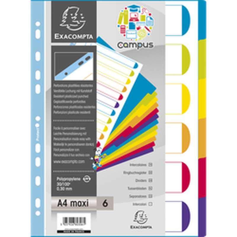 Intercalaires Campus de couleurs 11 trous, Exacompta (23 x 29,7 cm, 6 positions)