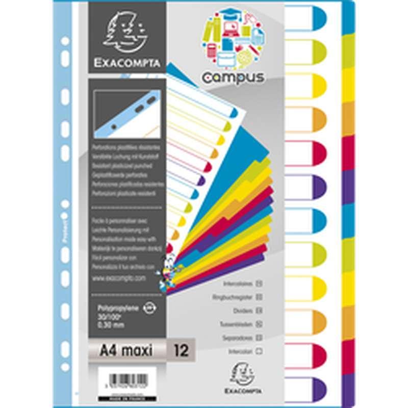 Intercalaires Campus de couleurs 11 trous, Exacompta (23 x 29,7 cm, 12 positions)