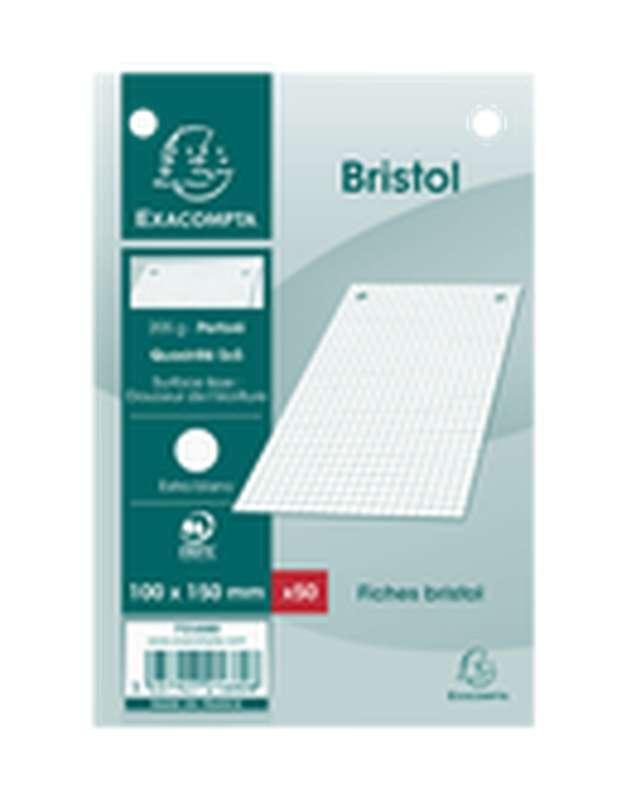 Fiches Bristol perforées blanches petits carreaux, Exacompta (format A6, 10 x 15 cm, x 50)