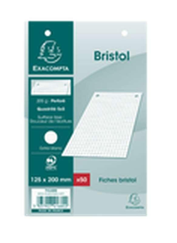 Fiches Bristol perforées blanches petits carreaux, Exacompta (12,5 x 20 cm, x 50)