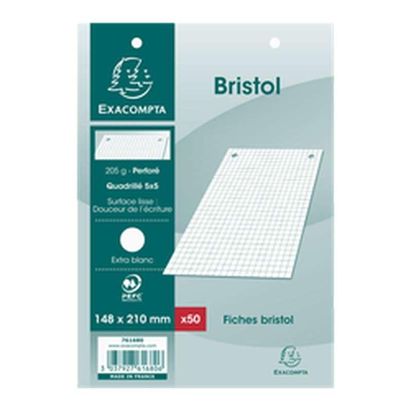 Fiches Bristol perforées blanches petits carreaux, Exacompta (format A5, 14,8 x 21 cm, x 50)