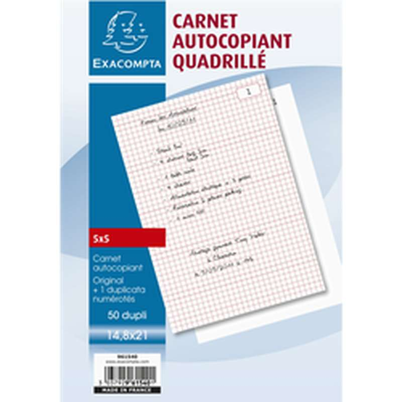 Carnet de feuilles autocopiant quadrillé, ExtraCompta (14,8 x 21 cm, x 50 original + duplicata)