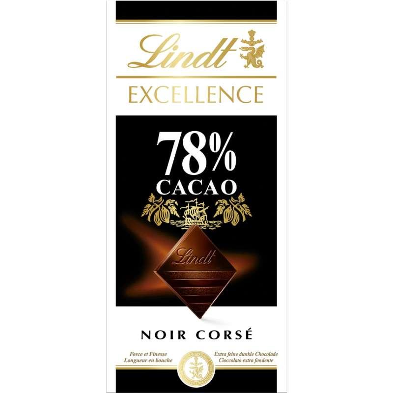 Chocolat Excellence noir corsé 78%, Lindt (100 g)