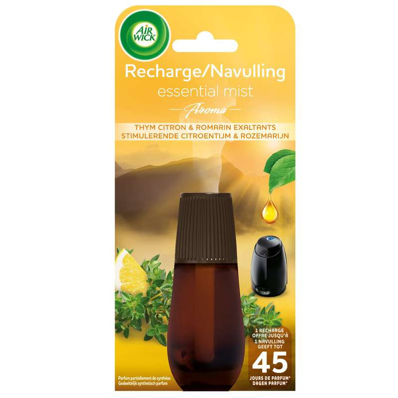 Recharge diffuseur Essential Mist Aroma thym, citron et romarin, Air Wick (20 ml)