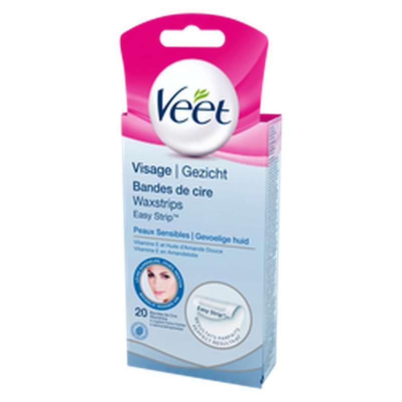 Bandes de cire froide spéciale visage pour peaux sensibles, Veet (x 20)