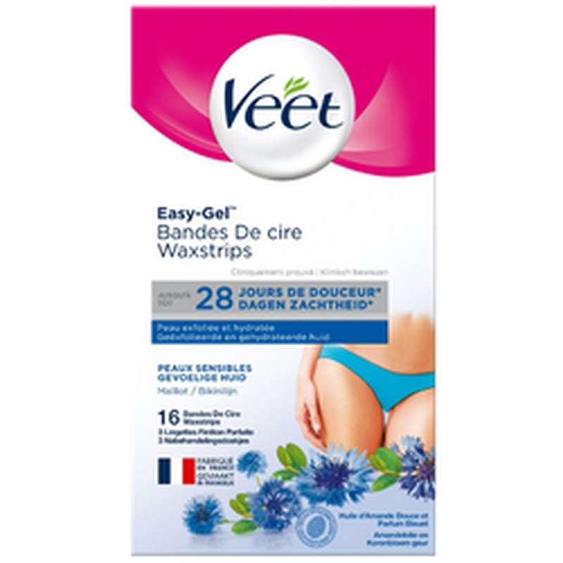 Bandes de cire froide maillot et aisselles pour peaux sensibles, Veet (x 16)