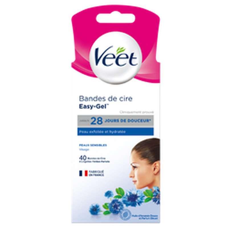 Bandes de cire froide spéciale visage pour peaux sensibles, Veet (x 40)
