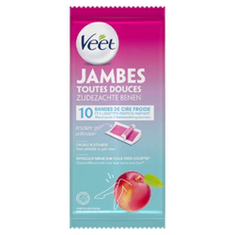 Bandes de cire froide pour jambes toutes douces, Veet (x 10)