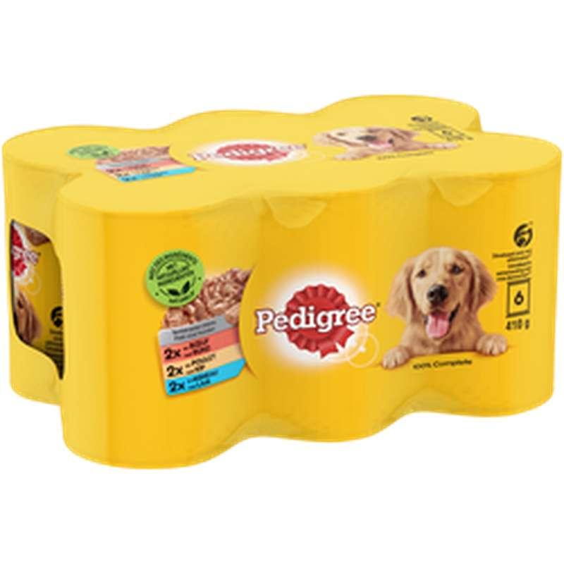 Aliment pour chien Terrines à l'agneau 3 variétés, Pedigree PEDIGREE, (6 x 410 g)