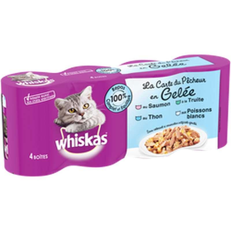 Aliment pour chat en gelée aux poissons et légumes, Whiskas (4 x 390 g)