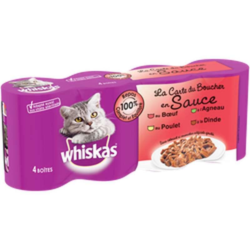 Aliments pour chat Les Mijotés en sauce 4 variétés, Whiskas (4 x 400 g)