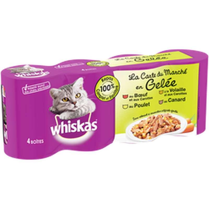Gelée pour chat viande et légumes, Whiskas (4 x 390 g)