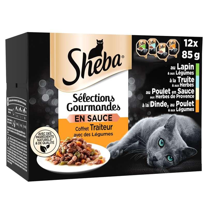 Pâtée pour chat sauces gourmandes, Sheba (12 x 85 g)