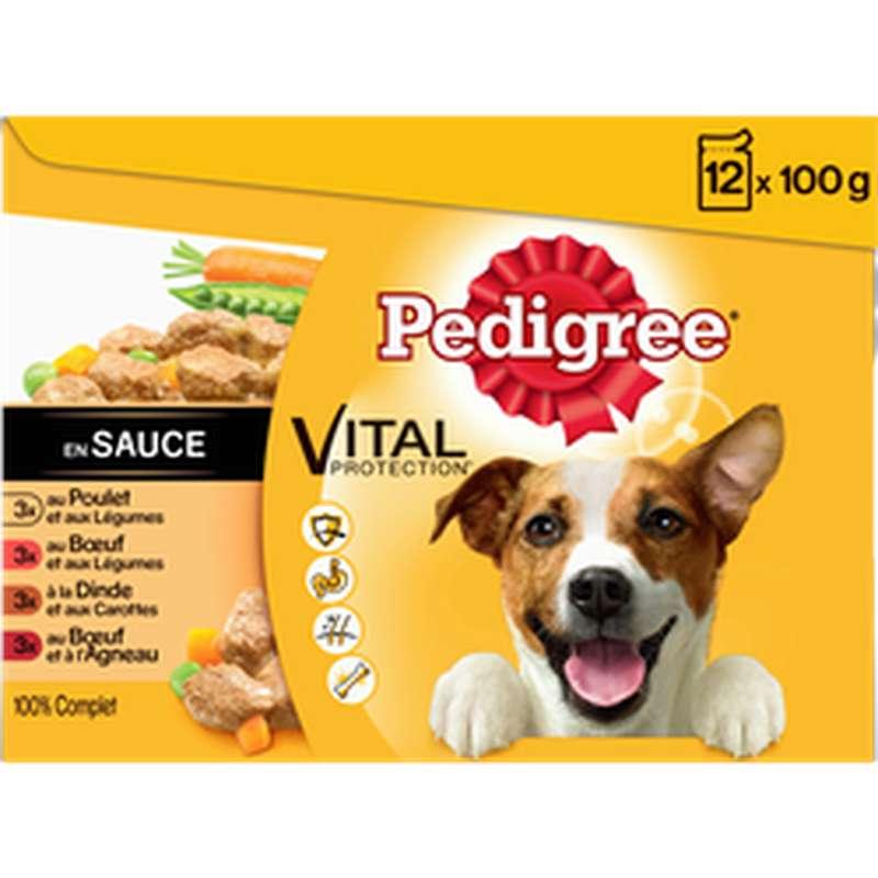 Sachets fraîcheur en sauce pour chien 4 variétés à la viande vital protection, Pedigree (12 x 100 g)