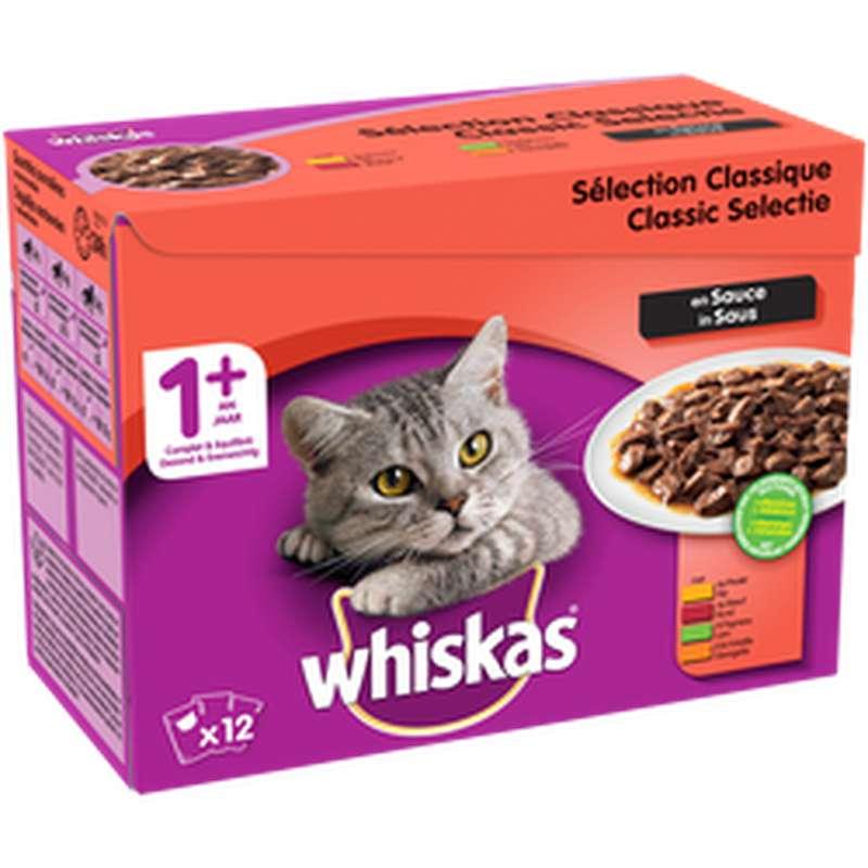 Sachets de viandes en sauce volaille pour chats de + de 1 an, Whiskas (12 x 100 g)