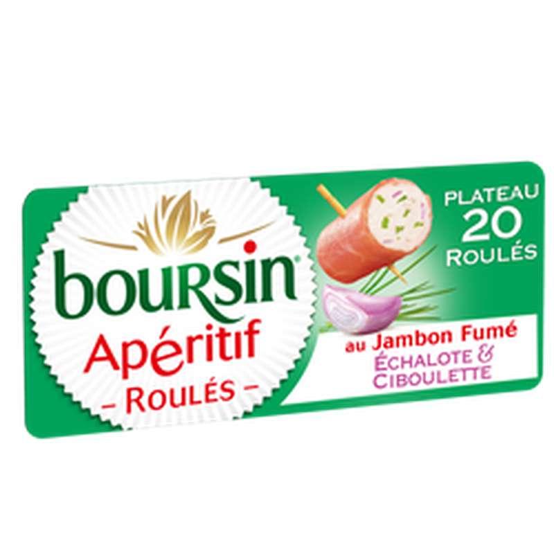 Fromage apéritif roulé échalote et ciboulette au jambon fumé, Boursin (x 20, 100 g)