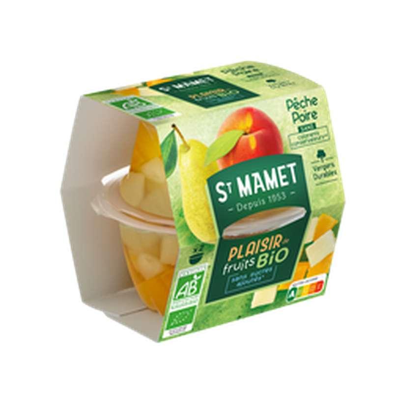 Plaisirs de fruits pêche poire sans sucres ajoutés BIO, St Mamet (2 x 113 g)