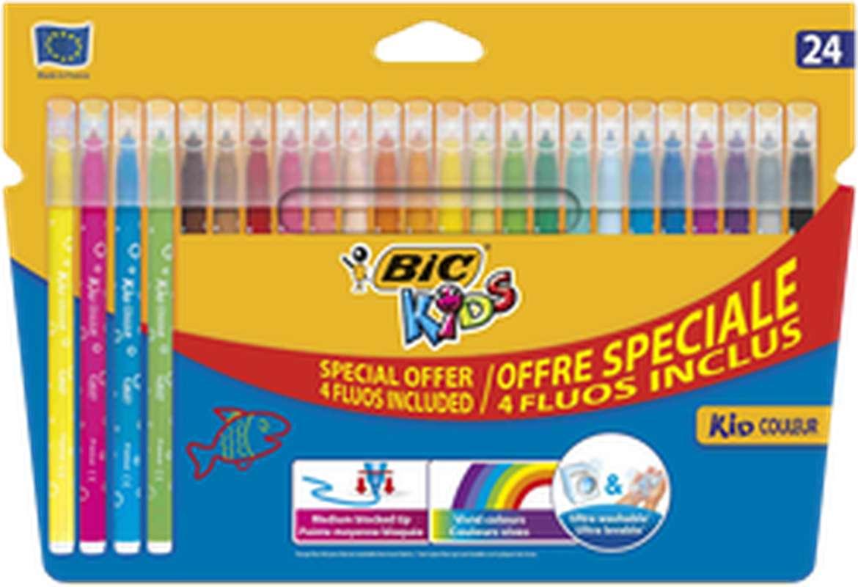 Feutres Kids pointe moyenne encre lavable dont 3 fluos inclus, BIC (x 24)