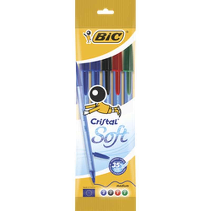 Stylo bille Cristal Soft coloris assortis, BIC (x 5)
