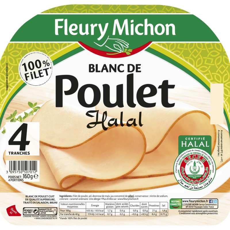 Blanc de poulet Halal doré au four, Fleury Michon (4 tranches, 160 g)
