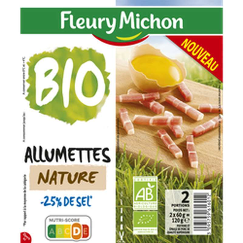Lardons allumettes nature 25% de sel BIO, Fleury Michon (2 x 60 g)