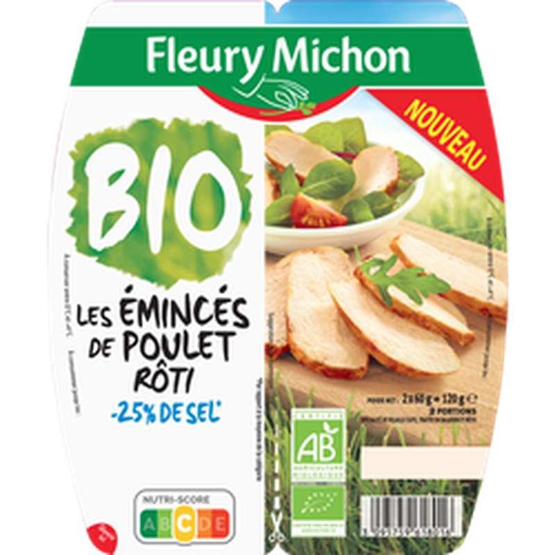 Émincés de poulet rôti -25% de sel BIO, Fleury Michon (2 x 60 g)