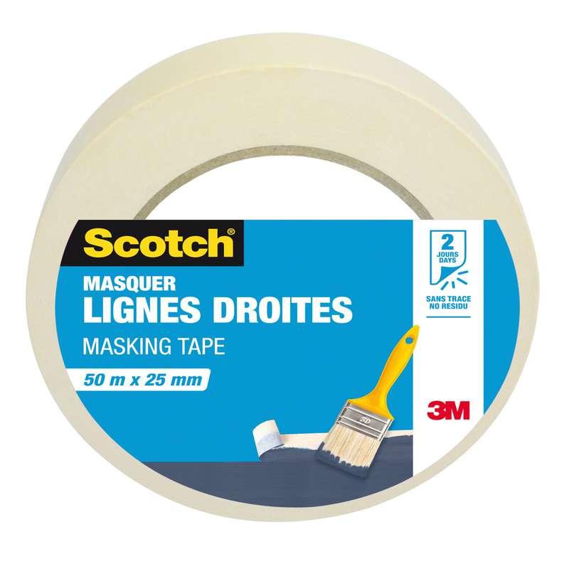 Adhésif protection peinture, Scotch (50m x 25mm)