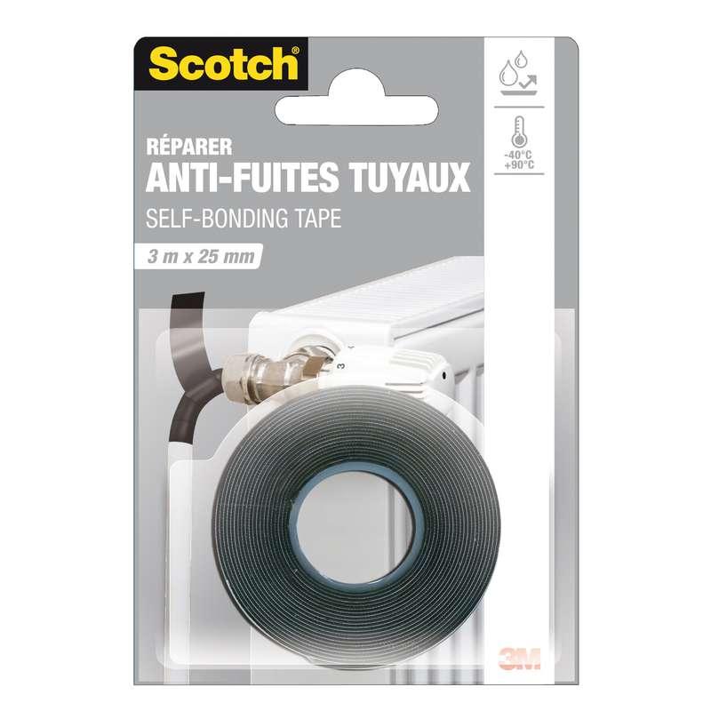 Adhésif noir répare fuites, Scotch (3 m x 25 mm)