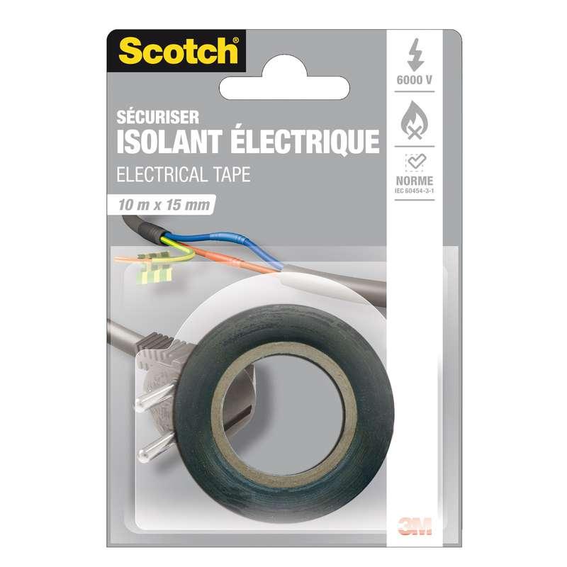 Adhésif noir isolation électrique, Scotch (10 m x 15 mm)