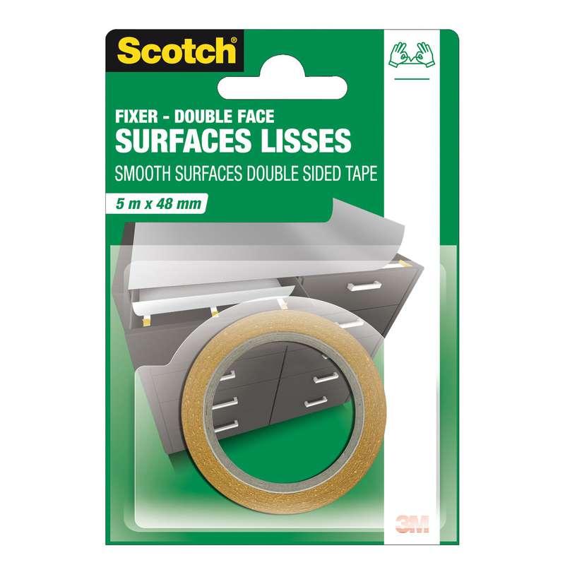 Ruban adhésif double face surfaces lisses, Scotch (5 m x 48 mm)