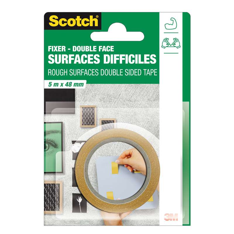 Adhésif double face surfaces difficiles, Scotch (5 m x 48 mm)