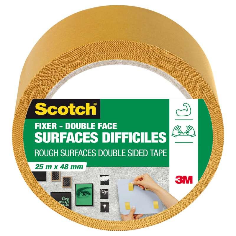 Adhésif double face surfaces difficiles, Scotch (25 m x 48 mm)