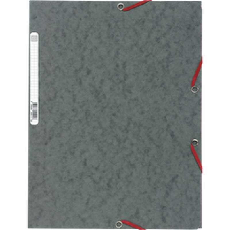 Chemise à élastique 3 rabats 24 x 32 cm gris, ExtraCompta (x 1)