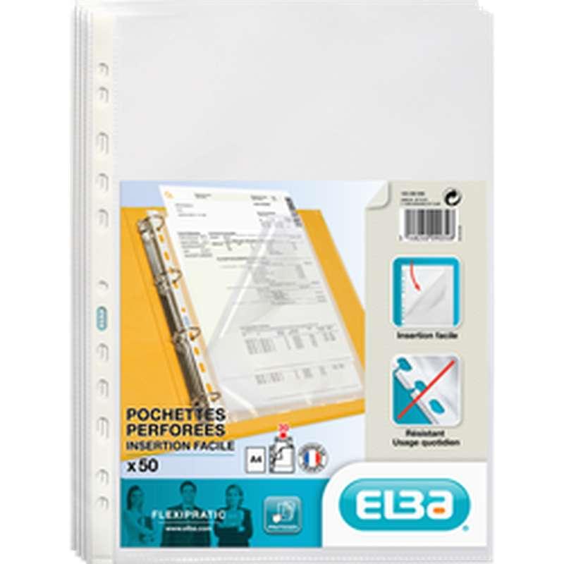 Pochettes perforées souples insertion facile ouverture en coin, Elba (x 50)