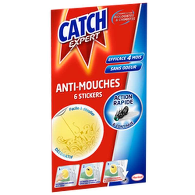 Stickers fenêtre anti-mouches décoratifs jaunes, Catch (x 6)