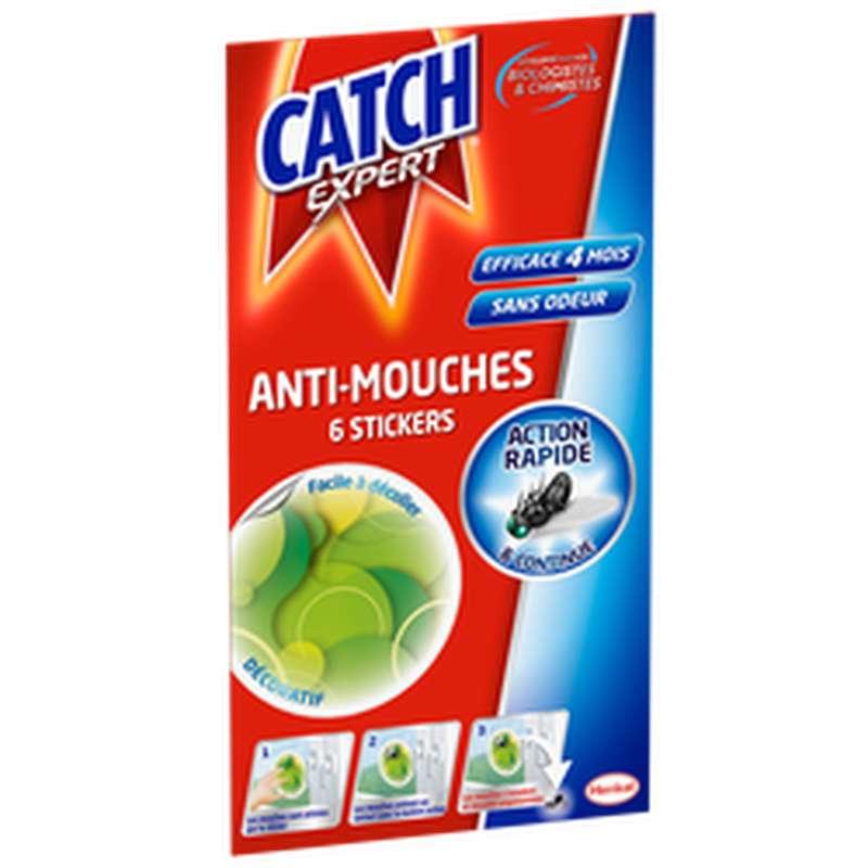Stickers fenêtre décoratif verts anti-mouches, Catch (x 6)
