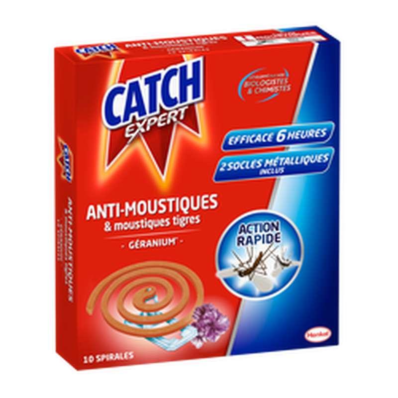 Spirales anti-moustiques extérieur parfum géranium, Catch (x 10)
