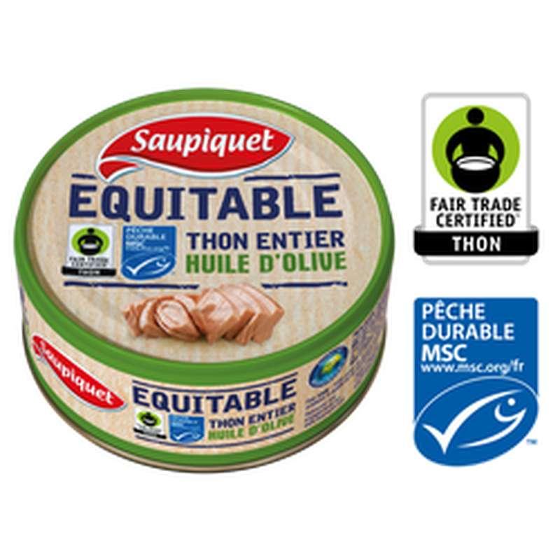Thon entier MSC équitable à l'huile d'olive, Saupiquet 130 g)