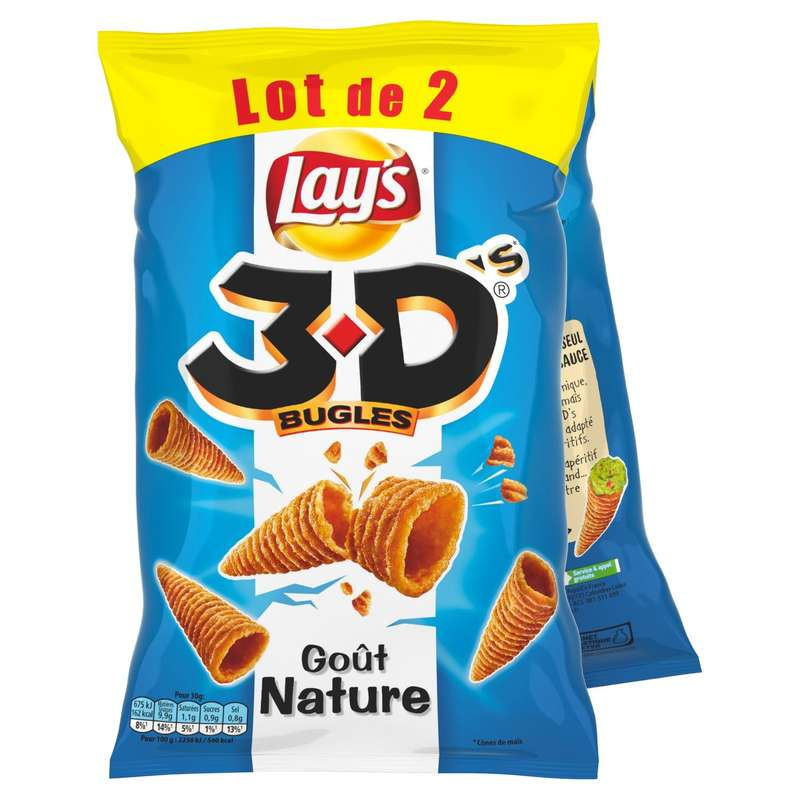 3D's bugles nature, Lay's (2 x 85 g)