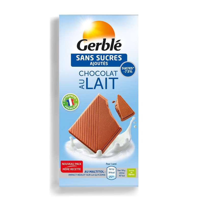 Chocolat au lait sans sucres ajoutés, Gerblé (80 g)