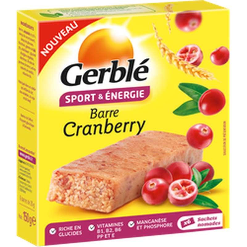 Barre sport & énergie cranberry, Gerblé (150 g)