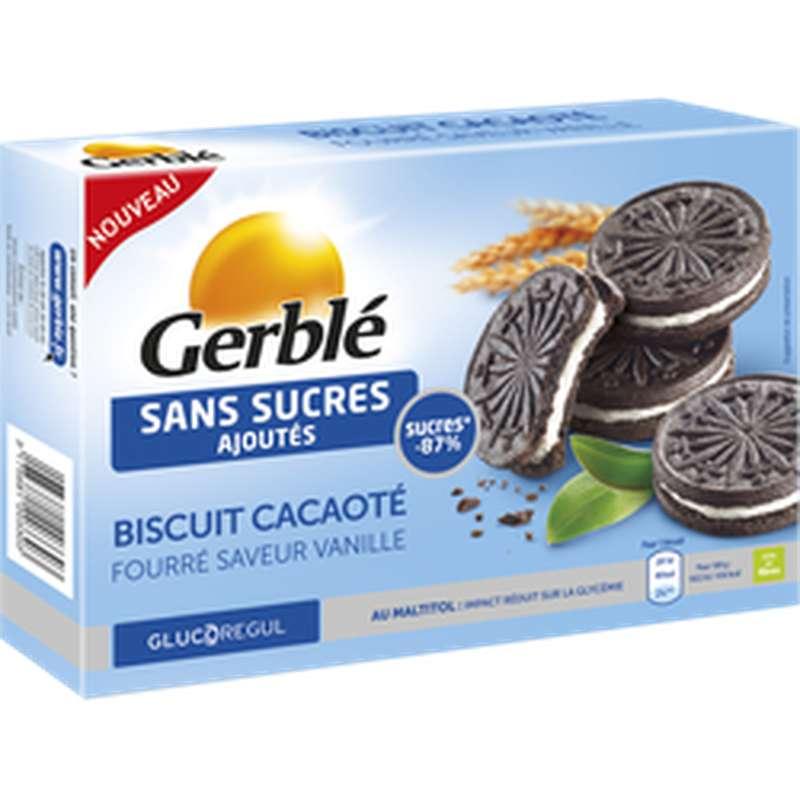 Biscuits cacaotés fourrés saveur vanille sans sucre ajouté, Gerblé (176 g)