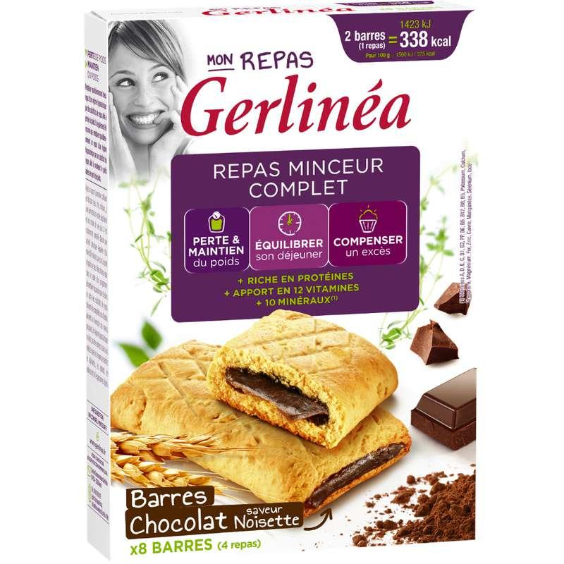 Barres de repas minceur complet chocolat noisettes, Gerlinea (x 8, 360 g)