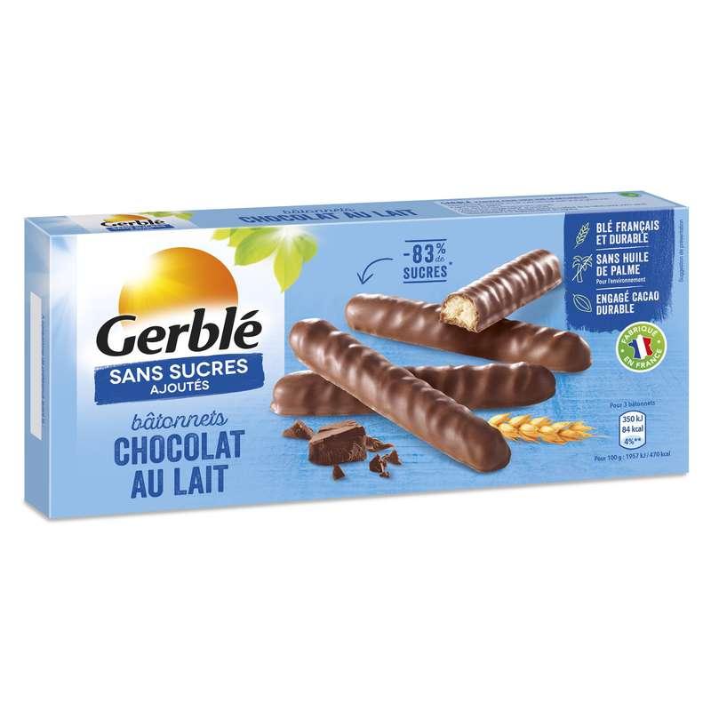 Biscuits bâtonnets chocolat lait sans sucres ajoutés, Gerblé (125 g)