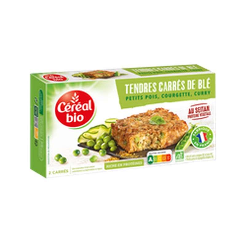 Tendres carrés de blé seitan, petit pois, curry et courgettes BIO, Céréale Bio (200 g)