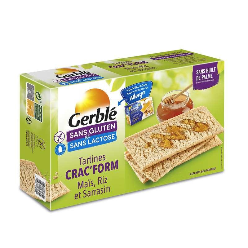 Biscottes au mais & riz sans gluten & sans lactose, Gerblé (210 g)